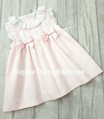 Girls Pink Spanish Double Satin Ribbons Dress - upto 36mth