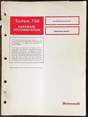 Honeywell System 700 Type 716 Hardware Maintenance Manual 1973