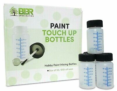 BIBR Specialties Paint Touch Up Bottles With Brush And Mixing Ball - Box Of 50