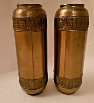 Pair Antique Brass Vases 21×7cm
