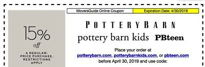 Pottery Barn 3 Coupons - 15% off each at PB, PBTeen and PBKids - expires 4/30/19