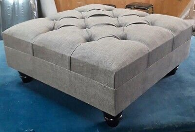 Truffle Light Grey Chesterfield Style deep Buttoned Footstool/Coffee Table...