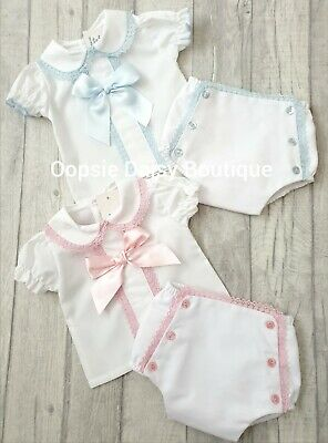 Pink & Blue Spanish Large Ribbon Bow & Lace Detial Jam Pants Sets