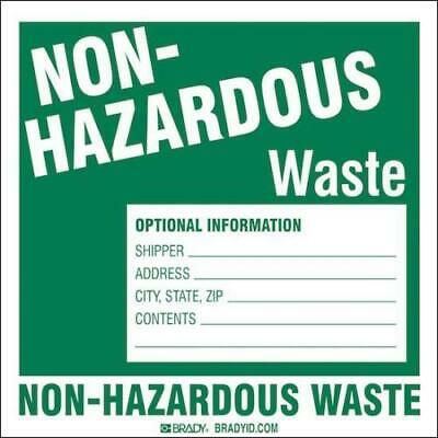 Pack Of 50 Brady 121159 Y4082736 Non Hazardous Waste Optional Information Labels