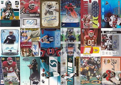 Huge Lot of 50 Different Football Autograph, Jersey, and Relic cards