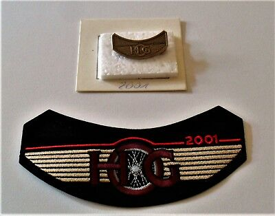 Harley Davidson HOG 2001 SET mit Aufnäher Pin Kutte Harley Owners Group Patch