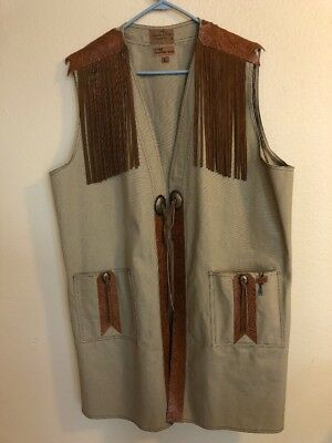S. Hyde Signature 1990 Texas Canvas Vest With Leather Fringe Hand Made In Dallas