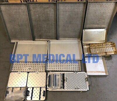 Surgical Instrument Sterilisation Trays cases job lot Medical metal