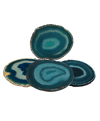 "Agate Coaster Teal 3-3.5"" Dyed Sliced Agate Drinks Cup Mat Set of 4 Small with"