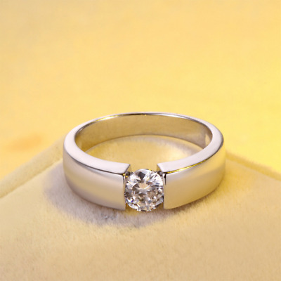 Fashion Silver Plated Exquisite Austria Crystal Wedding Ring Jewelry Women Men