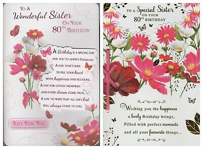 Sister 80th Birthday Card Wishes To A Wonderful