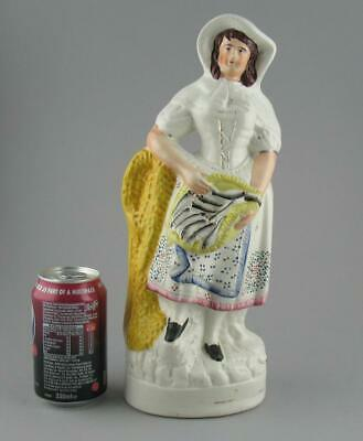Large Antique 19th C Victorian Staffordshire Pottery Flatback Figure Fishwife