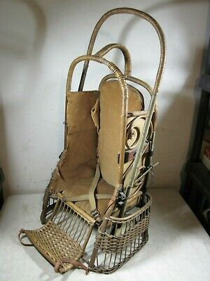 Antique Wicker Rattan Oriole Go-Basket Baby Stroller Carrier Withrow Mfg USA