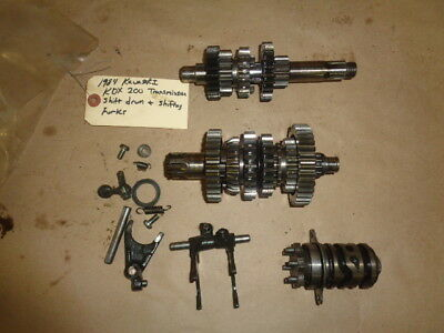1984 Kawasaki KDX 200 OEM Transmission Gears with Shifter Forks and Drum