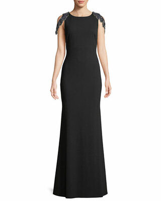 96731a4a479  290 Aidan Mattox Women s Black Beaded Cap Sleeve Formal Evening Dress Size  4