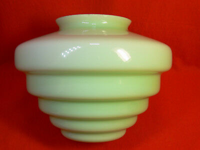 VINTAGE Art Deco LIGHT GREEN Stepped Glass BEEHIVE LIGHT SHADE Diana Lamp - VGC