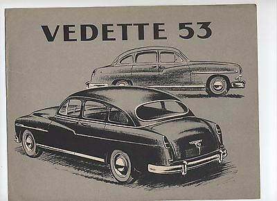 Ford Vedette 1953 Catalogue Brochure
