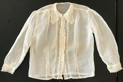 Vintage 1940s Sheer Cotton Muslin Lace Long Sleeve Blouse
