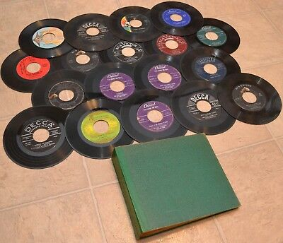 45 RPM Records - 18 Vinyl Singles & EP Lot w/ Book, Military America USA Marches
