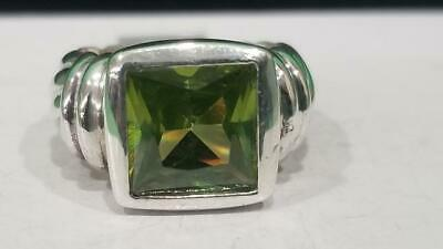 LADIES SILVER GREEN SQUARE STONE RING 925 Silver 8.1g Size:7 (SS2028776)