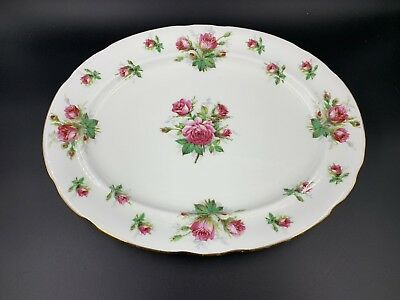 Hammersley Grandmother's Rose Oval Serving Platter Bone China England 14""