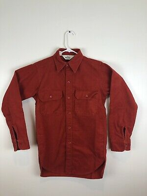 ca322597a55 Vintage Woolrich Chamois Cloth Shirt Burnt Orange Flannel Small Mens S Cool
