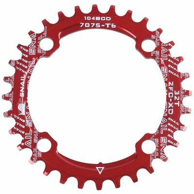 SNAIL Single Tooth Narrow Wide Bike MTB Chainring 104BCD RED 32T L7H4