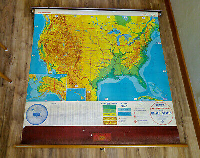 XLNT Vintage Cram's Pull Down Physical-Political United States School Map