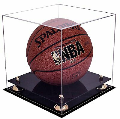 6f88be1ee72 Deluxe Clear Acrylic Full Size Basketball Display Case with Gold Risers  A001-GR