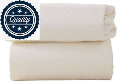 Clair de Lune Moses Basket Cotton Jersey Fitted Sheets (Pack of 2, White)