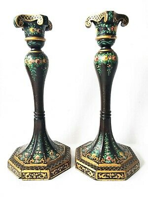 Old Hand Carved French Tole Painted Wooden Pair Candle Stick Holders Edwardian