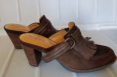 100dbf612ad Rockport Womens Heels Mules Sz 8.5 M Brown Suede Leather Fringe Slip On  shoes