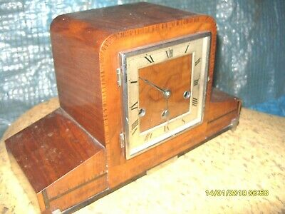 mantel clock ART DECO  HALLER  WESTMINSTER STRIKING  CLOCK  KEY  & PENDULUM