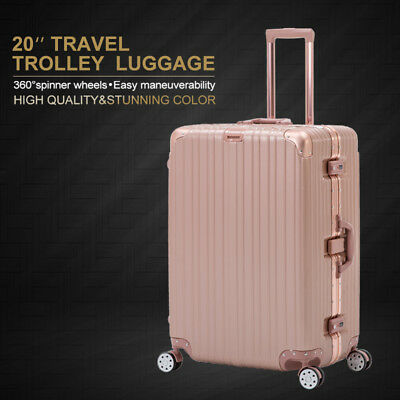 20'' Rose Gold Carry On Luggage Travel Bag Trolley Spinner Suitcase w/4 Wheels