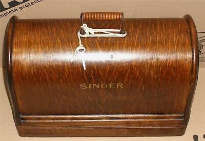 STUNNING VINTAGE  SINGER 128k HAND CRANK SEWING MACHINE WITH BENTWOOD CASE.