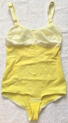 RARE Vintage Custom YELLOW Girdle Shaper Bodysuit Sheer Lace Cups Snap Crotch