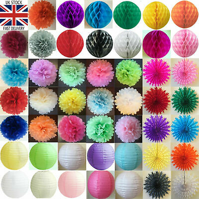 Tissue Paper Pom poms Pompoms Honeycomb Balls Fans Paper Lanterns Wedding Party