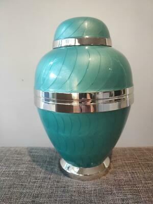 Cremation Urn Adult Stunning design Turquoise Pearl with Silver Trim