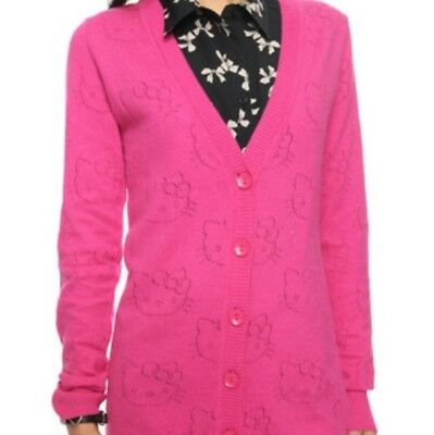 877f0e2a3 Forever 21 Hello Kitty Juniors/Womens Sz M Hot Pink Long Sleeve Cardigan  Sweater