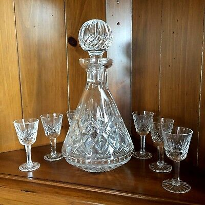 """Waterford Lismore Roly Poly Decanter 10.75""""h, W/6 Cordials, 3.5""""h, Xlnt Cond."""
