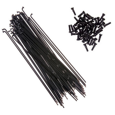 Mutiny BMX Double Butted Spokes 194mm + Alloy Nipples - Black Spokes 50pc