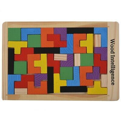 New Wooden Tangram Brain Teaser Puzzle Tetris Game Educational Baby Kids To I3C5