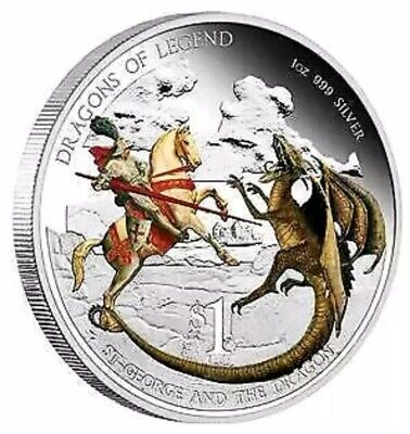 "2012 Tuvalu ""Dragons of Legend"" Colorized 1oz .999 Silver Proof Coin - Box & COA"