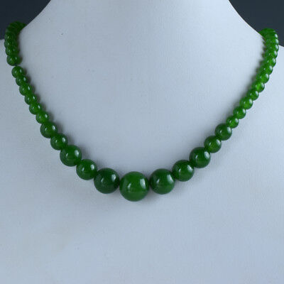 Chinese Natural Jade Handwork Carved Beads Necklace      W164