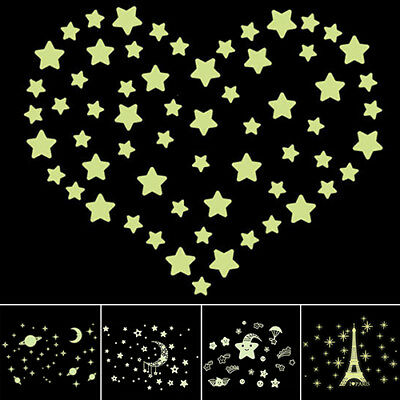 FT- Stars Eiffel Tower Glow in The Dark Wall Stickers Fluorescent Luminous Decal