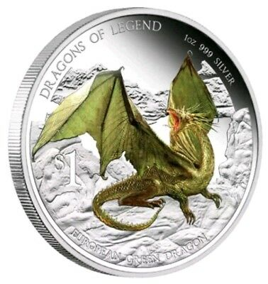 2013 Tuvalu DRAGONS OF LEGEND Colorized 1oz .999 Silver Proof Coin - Box & COA