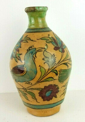 """Antique Persian Pottery Vase 19th Century Crackle Glaze Bird Floral 8.5"""" Tall"""