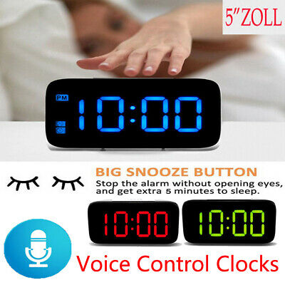 "US Large LED Digital Alarm Snooze Clock Voice Control Time Display 5"" Screen New"