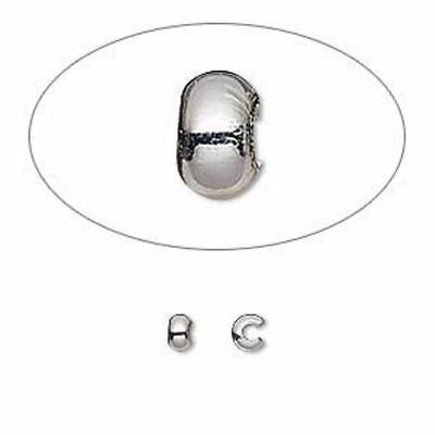 Crimp cover, sterling silver-filled, 3mm round x 20