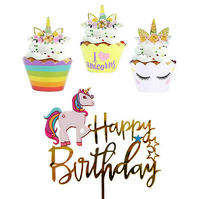 Unicorn Cupcake Toppers Wrappers | Unicorn Party Supplies Birthday Decorations